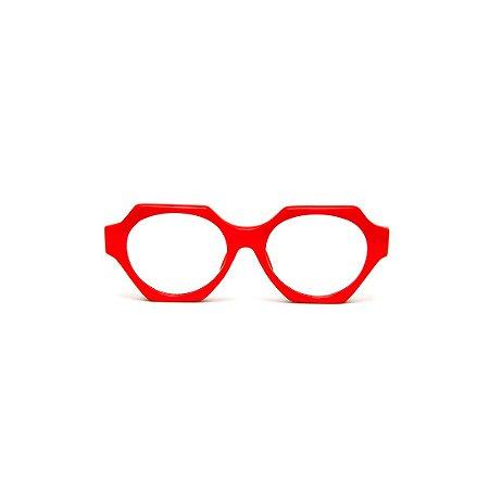 Armação para óculos de Grau Gustavo Eyewear G72 4. Cor: Vermelho opaco. Haste preta.