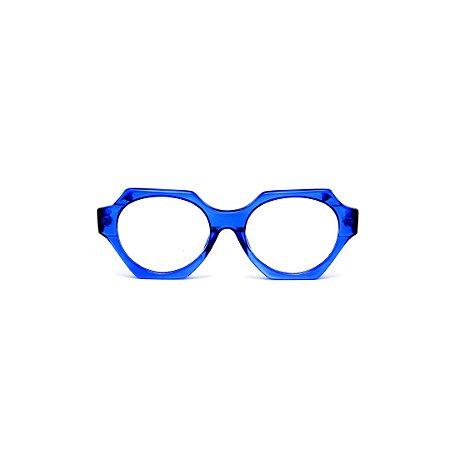 Armação para óculos de Grau Gustavo Eyewear G72 6. Cor: Azul translúcido. Haste preta.
