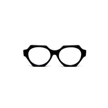 Armação para óculos de Grau Gustavo Eyewear G72 8. Cor: Preto. Haste animal print.