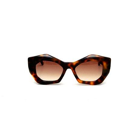 Óculos de Sol Gustavo Eyewear G108 7. Cor: Animal print. Haste animal print. Lentes marrom.