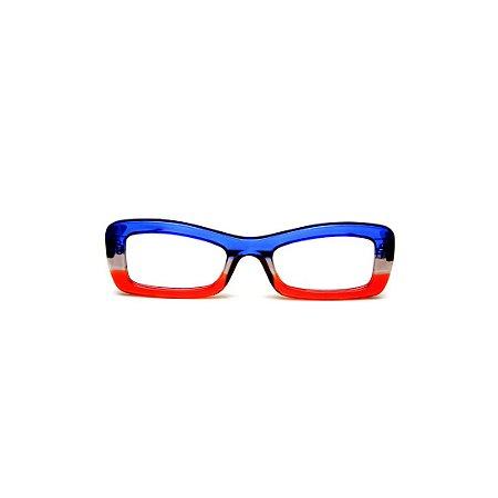 Armação para óculos de Grau Gustavo Eyewear G34 101. Cor: Azul, fumê e vermelho translúcido. Haste marrom.