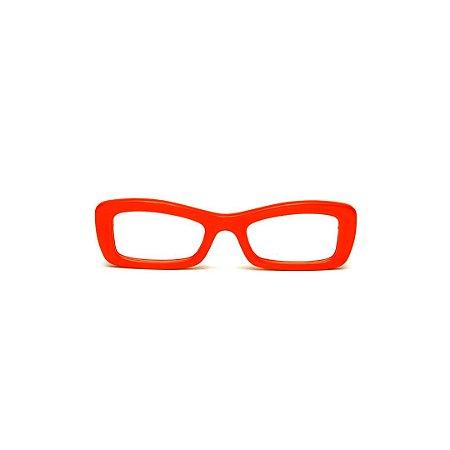 Armação para óculos de Grau Gustavo Eyewear G34 102. Cor: Vermelho opaco. Haste preta.
