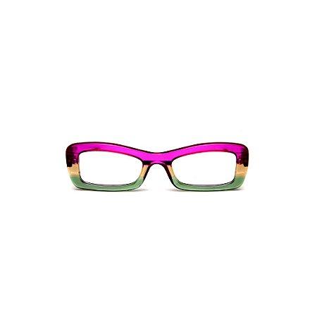 Armação para óculos de Grau Gustavo Eyewear G34 102. Cor: Violeta, âmbar e verde translúcido. Haste violeta.
