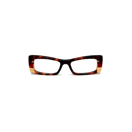 Armação para óculos de Grau Gustavo Eyewear G35 4. Cor: animal print, vermelho e âmbar. Haste marrom.