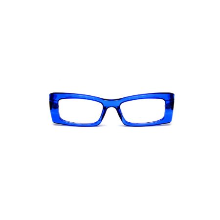 Armação para óculos de Grau Gustavo Eyewear G35 5. Cor: Azul translúcido. Haste aazul.