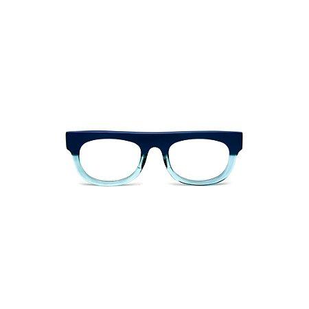 Armação para óculos de Grau Gustavo Eyewear G14 5. Cor: Azul opaco e acqua translúcido. Haste azul.