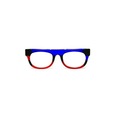 Armação para óculos de Grau Gustavo Eyewear G14 9. Cor: Azul, verde e vermelho translúcido. Haste verde.