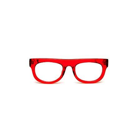 Armação para óculos de Grau Gustavo Eyewear G14 11. Cor: Vermelho translúcido. Haste animal print.