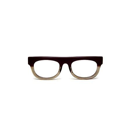 Armação para óculos de Grau Gustavo Eyewear G14 11. Cor: Marrom e fumê translúcido. Haste marrom.