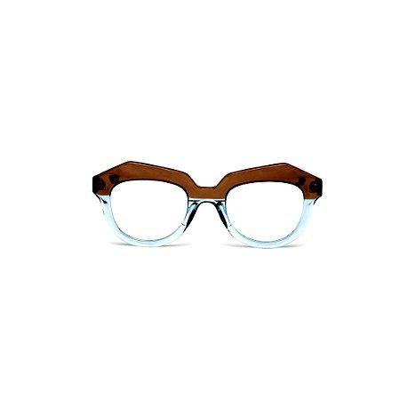 Armação para óculos de Grau Gustavo Eyewear G37 101. Cor: Animal print e acqua translúcido. Haste animal print.