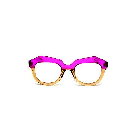 Armação para óculos de Grau Gustavo Eyewear G37 105. Cor: Violeta e âmbar translúcido. Haste violeta.