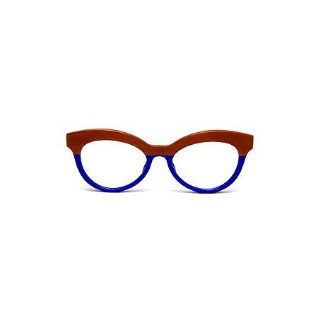 Armação para óculos de Grau Gustavo Eyewear G38 5. Cor: Caramelo e azul opaco. Haste animal print.