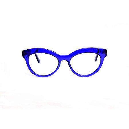 Armação para óculos de Grau Gustavo Eyewear G38 10. Cor: Azul translúcido. Haste preta.