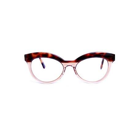 Armação para óculos de Grau Gustavo Eyewear G38 11. Cor: Animal print e âmbar. Haste animal print.