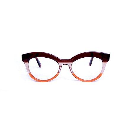 Armação para óculos de Grau Gustavo Eyewear  G38 13. Cor: Marrom, fumê e laranja translúcido. Haste animal print.