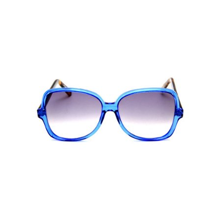 Óculos de Sol Gustavo Eyewear G110 8. Cor: Azul translúcido. Haste animal print. Lentes cinza.