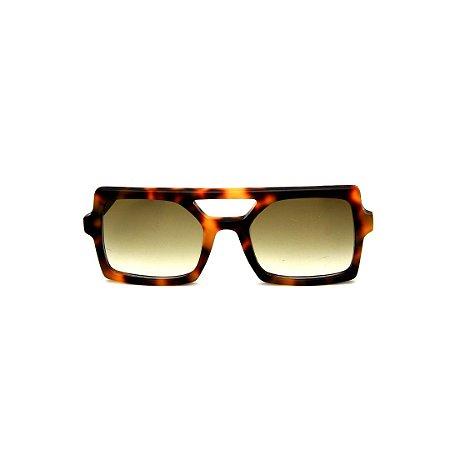 Óculos de Sol Gustavo Eyewear G114 2. Cor: Animal print. Haste animal print. Lentes marrom.