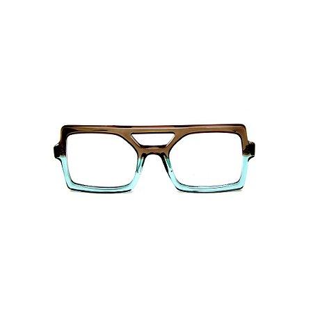 Armação para óculos de Grau Gustavo Eyewear G114 3. Cor: Fumê e acqua translúcido. Haste preta.
