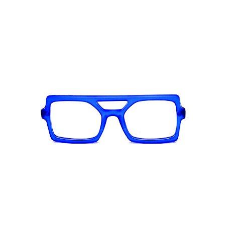 Armação para óculos de Grau Gustavo Eyewear G114 7. Cor: Azul translúcido. Haste preta.