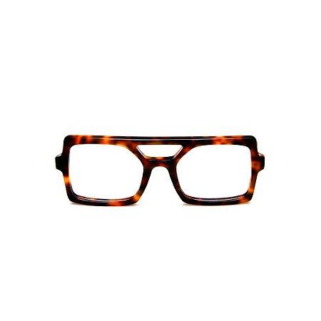 Armação para óculos de Grau Gustavo Eyewear G114 15. Cor: Animal print. Haste animal print.