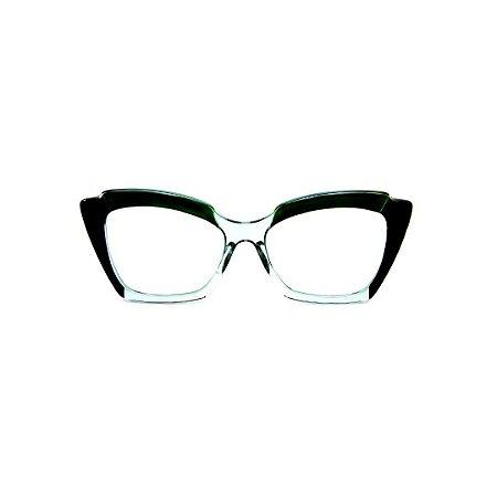 Armação para óculos de Grau Gustavo Eyewear G111 2. Cor: Preto, verde e acqua translúcido. Haste preta.