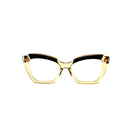 Armação para óculos de Grau Gustavo Eyewear G111 3. Cor: Âmbar e verde translúcido. Haste verde.
