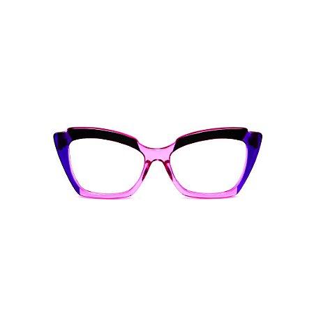 Armação para óculos de Grau Gustavo Eyewear G111 4. Cor: Rosa, preto e azul translúcido. Haste rosa.