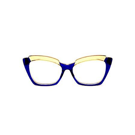 Armação para óculos de Grau Gustavo Eyewear G111 4. Cor: Azul e âmbar translúcido. Haste azul.