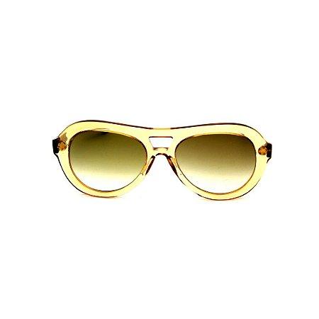 Óculos de Sol Gustavo Eyewear G113 1. Cor: Âmbar translúcido. Haste preta. Lentes marrom.