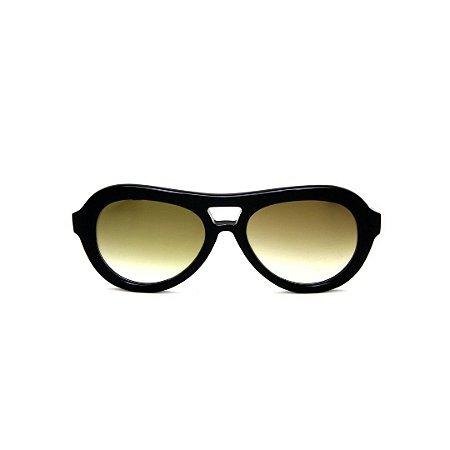 Óculos de Sol Gustavo Eyewear G113 7. Cor: Preto. Haste preta. Lentes marrom.