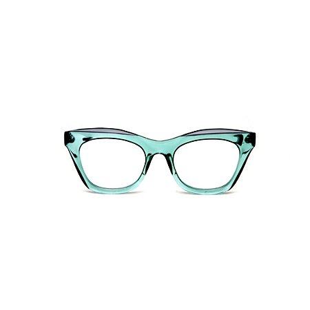 Armação para óculos de Grau Gustavo Eyewear G69 X. Cor: Acqua translúcido. Haste animal print.