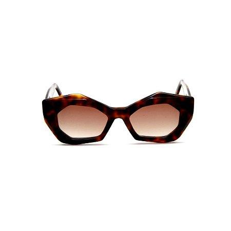 Óculos de Sol Gustavo Eyewear G92 2. Cor: Animal print. Haste animal print. Lentes marrom.