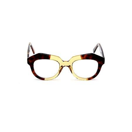 Armação para óculos de Grau Gustavo Eyewear G37 4. Cor: Animal print e âmbar translúcido. Haste animal print.