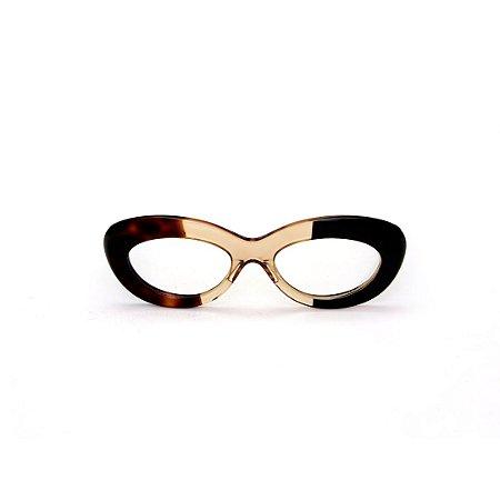 Armação para óculos de Grau Gustavo Eyewear G36 1. Cor: Animal print, âmbar e preto. Haste marrom.