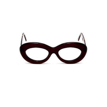 Armação para óculos de Grau Gustavo Eyewear G36 3. Cor: Marrom. Haste animal print.