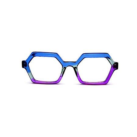 Armação para óculos de Grau Gustavo Eyewear G123 1. Cor: Azul, acqua e violeta translúcido. Haste azul.