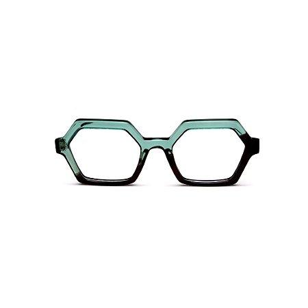 Armação para óculos de Grau Gustavo Eyewear G123 2. Cor: Verde e marrom translúcido. Haste preta.