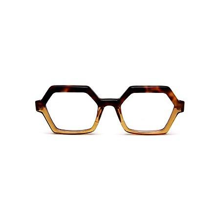 Armação para óculos de Grau Gustavo Eyewear G123 3. Cor: Animal print e âmbar translúcido. Haste animal print.