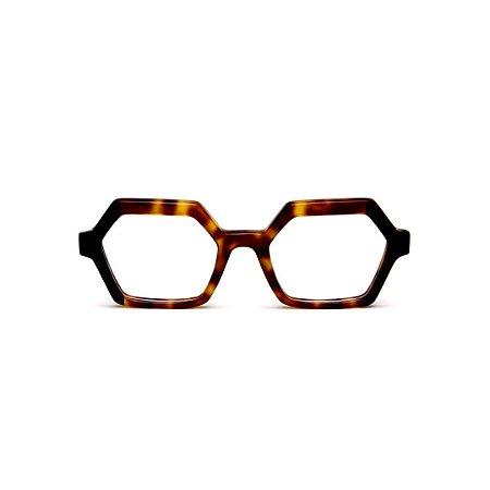 Armação para óculos de Grau Gustavo Eyewear G123 5. Cor: Animal print e preto. Haste animal print.