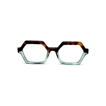 Armação para óculos de Grau Gustavo Eyewear G123 6. Cor: Animal print e acqua translúcido. Haste animal print.
