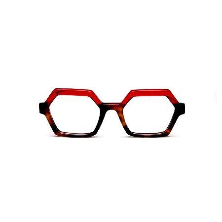 Armação para óculos de Grau Gustavo Eyewear G123 8. Cor: Animal print e vermelho translúcido. Haste vermelha.