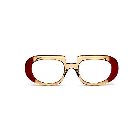 Armação para óculos de Grau Gustavo Eyewear G116 6. Cor: Âmbar e vermelho opaco. Haste animal print.