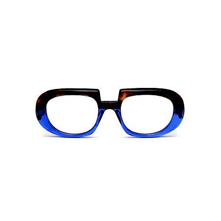 Armação para óculos de Grau Gustavo Eyewear G116 10. Cor: Animal print e azul translúcido. Haste animal print.