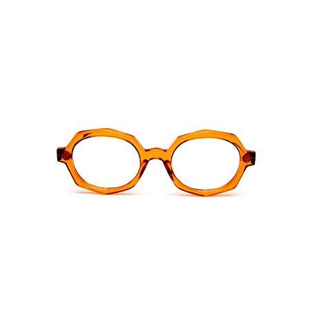 Armação para óculos de Grau Gustavo Eyewear G121 3. Cor: Caramleo translúcido. Haste animal print.
