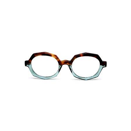 Armação para óculos de Grau Gustavo Eyewear G121 7. Cor: Animal print e acquatranslúcido. Haste animal print.