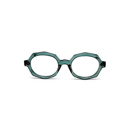Armação para óculos de Grau Gustavo Eyewear G121 8. Cor: Verde translúcido. Haste animal print.