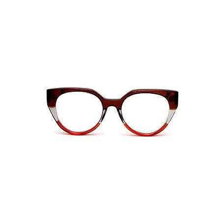 Armação para óculos de Grau Gustavo Eyewear G117 1. Cor: Marrom, fumê e vermelho translúcido. Haste marrom.