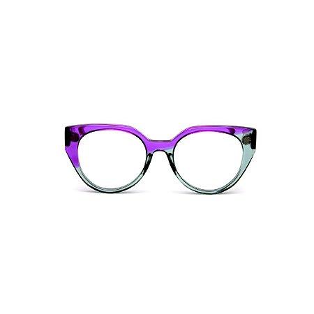 Armação para óculos de Grau Gustavo Eyewear G117 5. Cor: Violeta e acqua translúcido. Haste violeta.