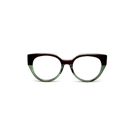 Armação para óculos de Grau Gustavo Eyewear G117 6. Cor: Marrom opaco e verde translúcido. Haste animal print.