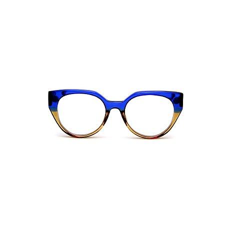 Armação para óculos de Grau Gustavo Eyewear G117 200. Cor: Azul e âmbar translúcido. Haste azul.